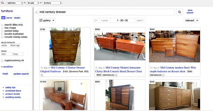searching craigslist for used furniture and decor
