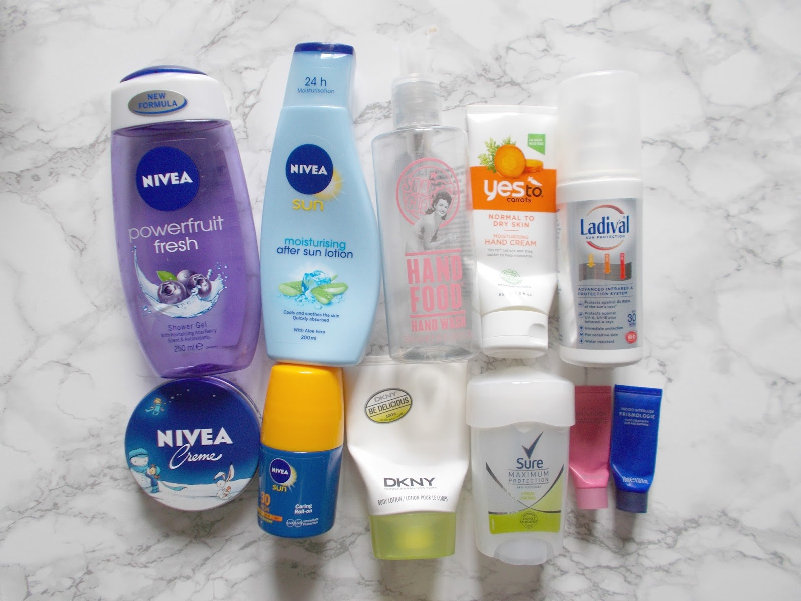 bodycare empties nivea soap and glory yes to carrots ladical dkny sure prismologie