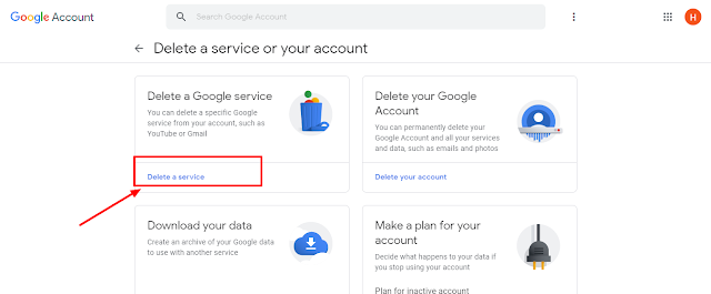 Google Gmail account  click on service
