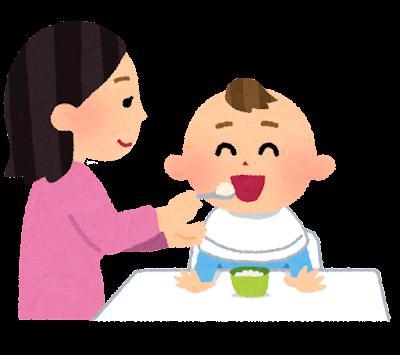 赤ちゃんに離乳食を食べさせているお母さんのイラスト
