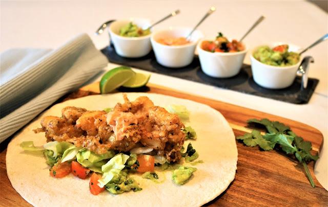 Fish Tacos with Homemade Salsa, Guacamole & Chipotle Garlic Mayonnaise