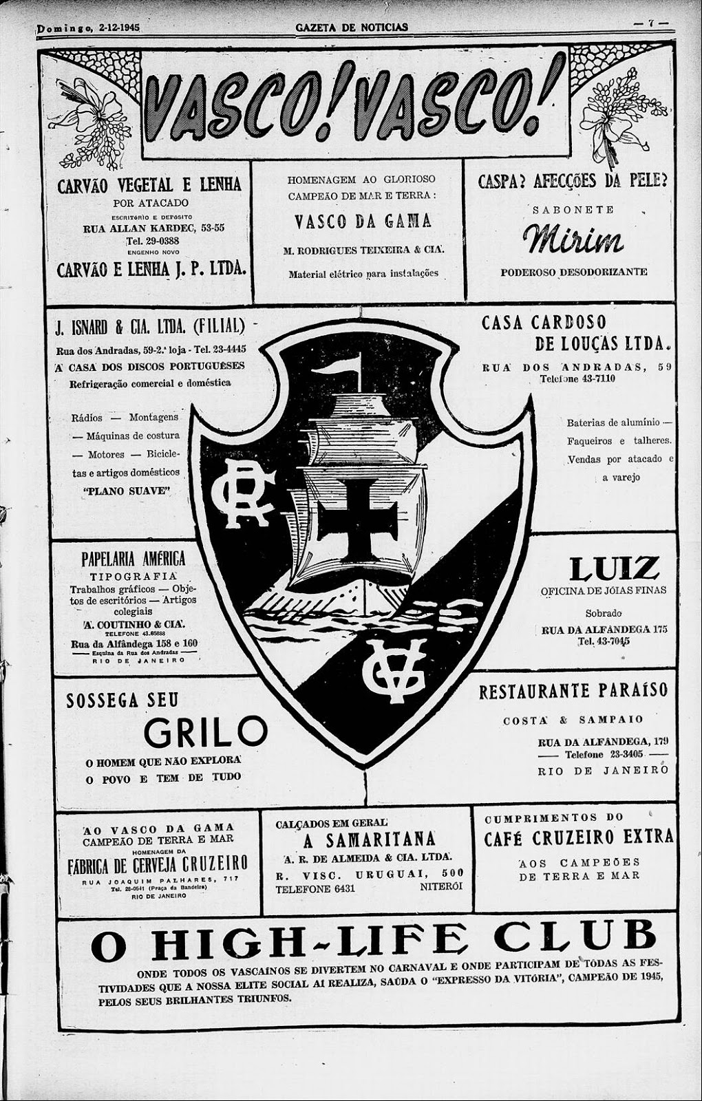 dea5d1ec0f Memória do Torcedor Vascaíno  Vasco propaganda em 1945