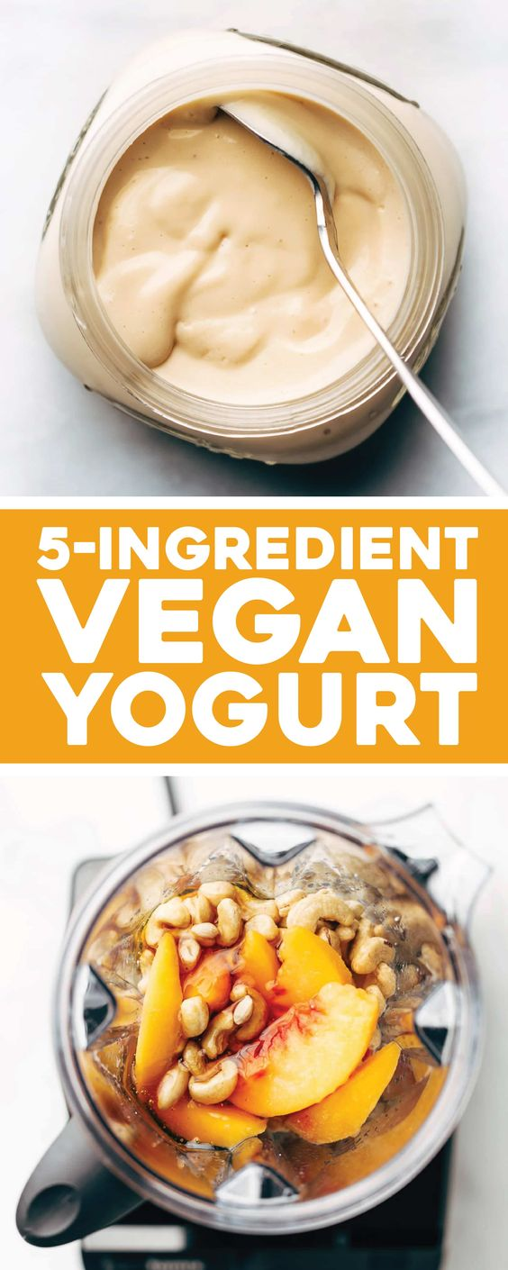 This Creamy Dreamy Vegan Yogurt is the BEST! Made in five minutes with three ingredients and naturally sweetened. #yogurt #vegan #plantbased #sugarfree