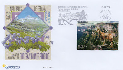 Sobre Primer Día de Circulación del sello del Parque Natural de Ordesa y Monte Perdido