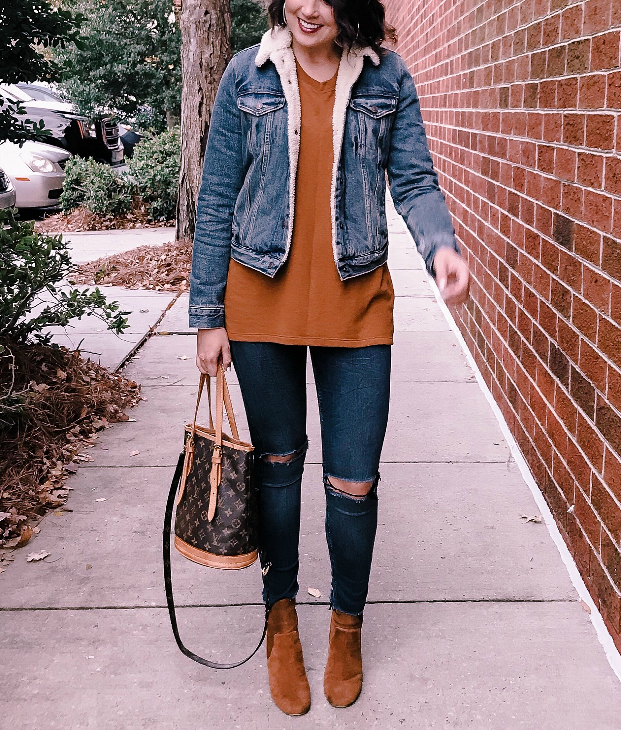 sherpa denim jacket, vintage louis vuitton, suede boots, life and messy hair, xo samantha brooke, messy hair, curly hair