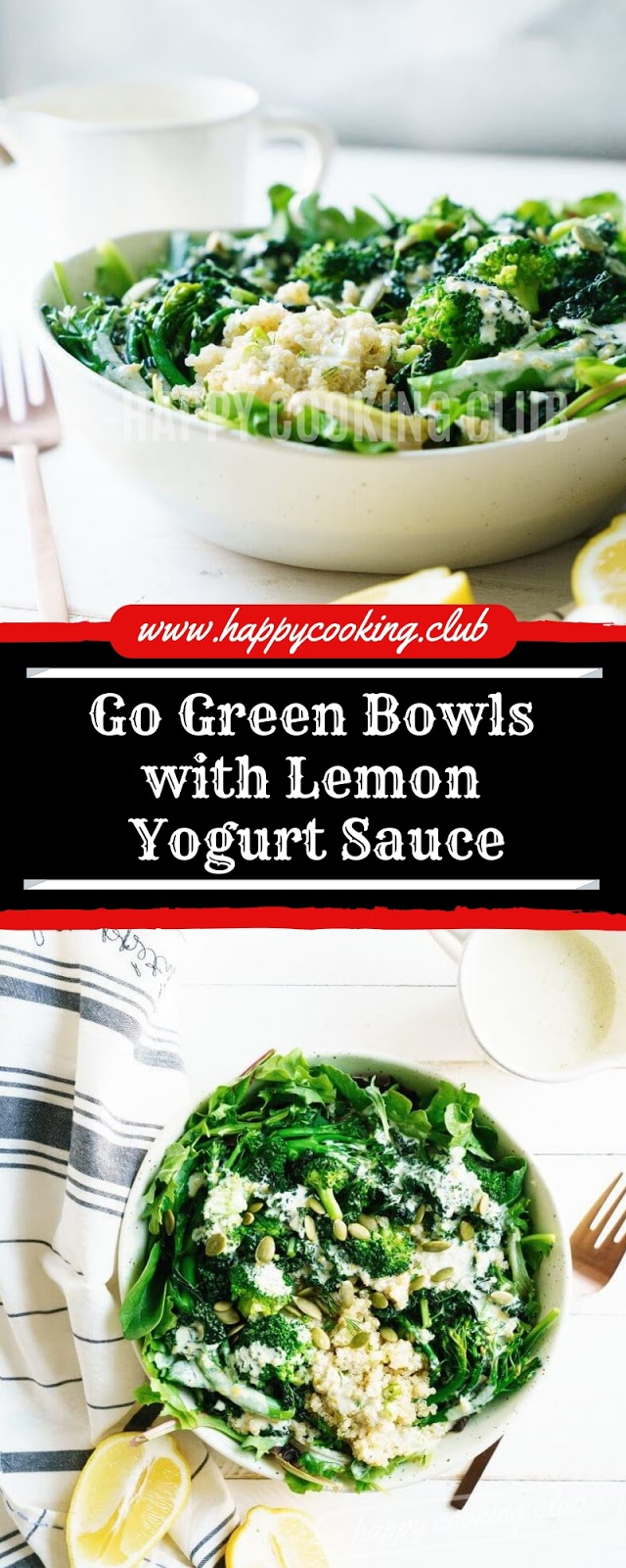 Go Green Bowls with Lemon Yogurt Sauce