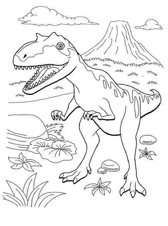 Tranh tô màu khủng long Majungasaurus và núi lửa
