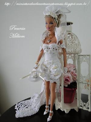 Vestido de Noiva de Crochê Para Barbie  Criado e Confeccionado por Pecunia M. MillioM