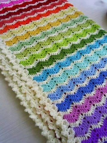 Manta Arcoiris a Crochet