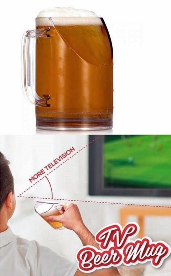 Lustiges Bierglas passend zum Fernsehen