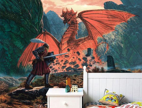 fantasia tapetti Valokuvatapetti maisema lohikäärme tapetti sotur