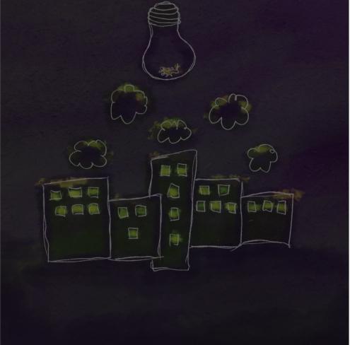 Éjszakai lakótelep világító ablakokkal digitális rajzon, az ég sötét, csak egy hatalmas, foglalat nélküli villanykörte világít a lila felhők felett.