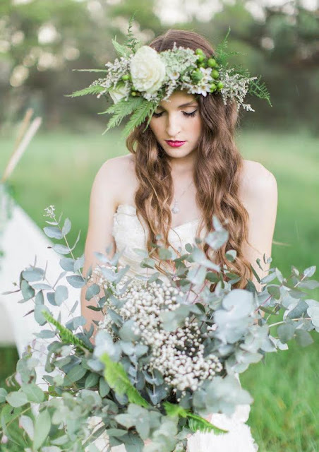 Wedding Inspiration - Flower Crown with Natural Foliage Bouquet