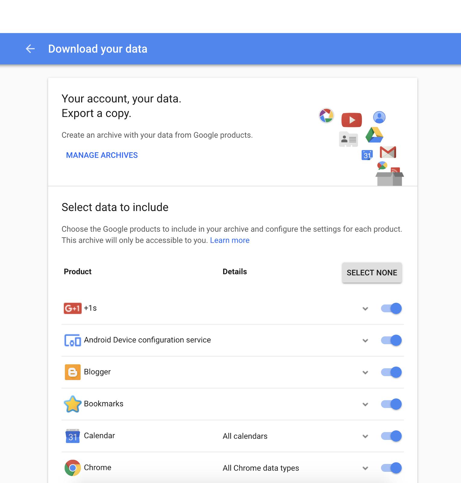 Google + Backup Button