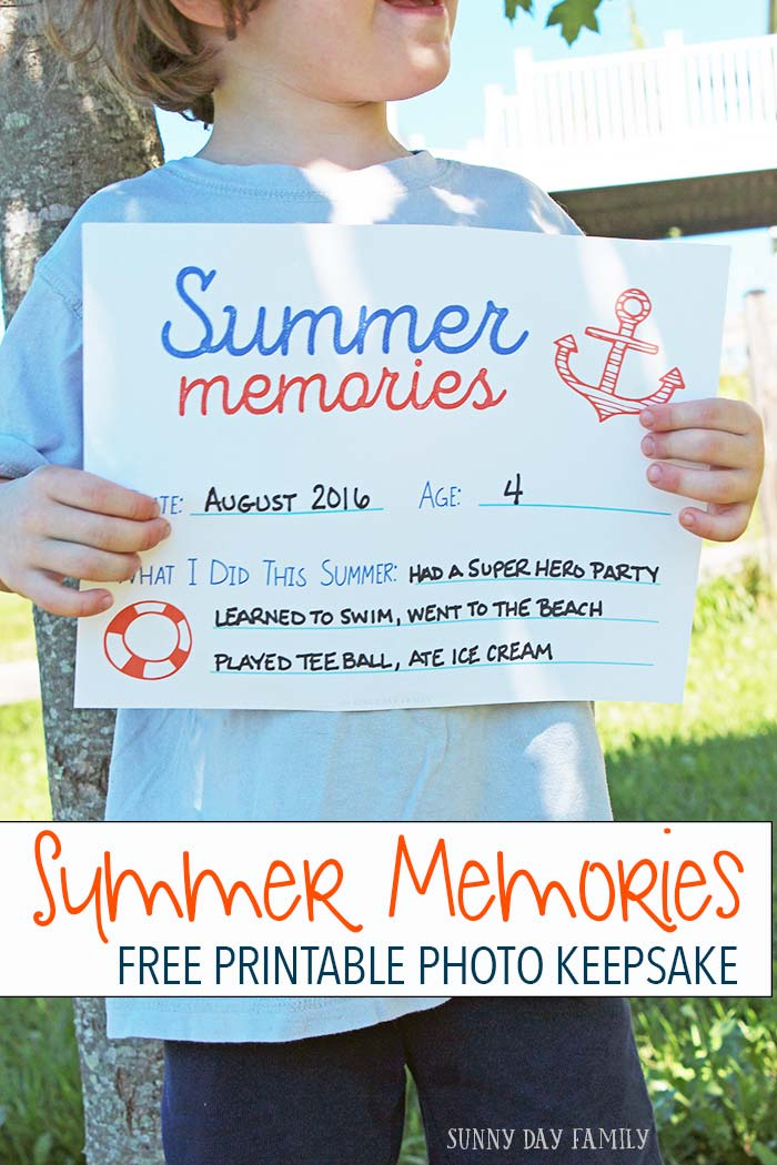 "Forget first day of school photos. Capture the magic of summer with an end of summer keepsake photo! Use this free ""what I did this summer"" printable to create your own."