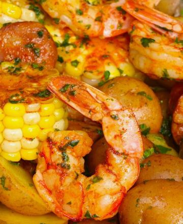 Shrimp, potatoes and veggies are baked in foil, which makes it moist, tender, and juicy.