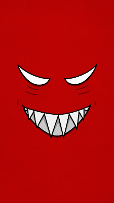 Evil Grin Cartoon Face Vector Illustration Cute Strange