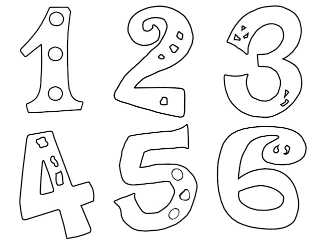 A colouring page for children with the numbers one to six.