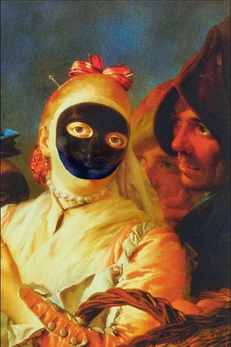 The traditional Venetian carnival mask known as a moretta.