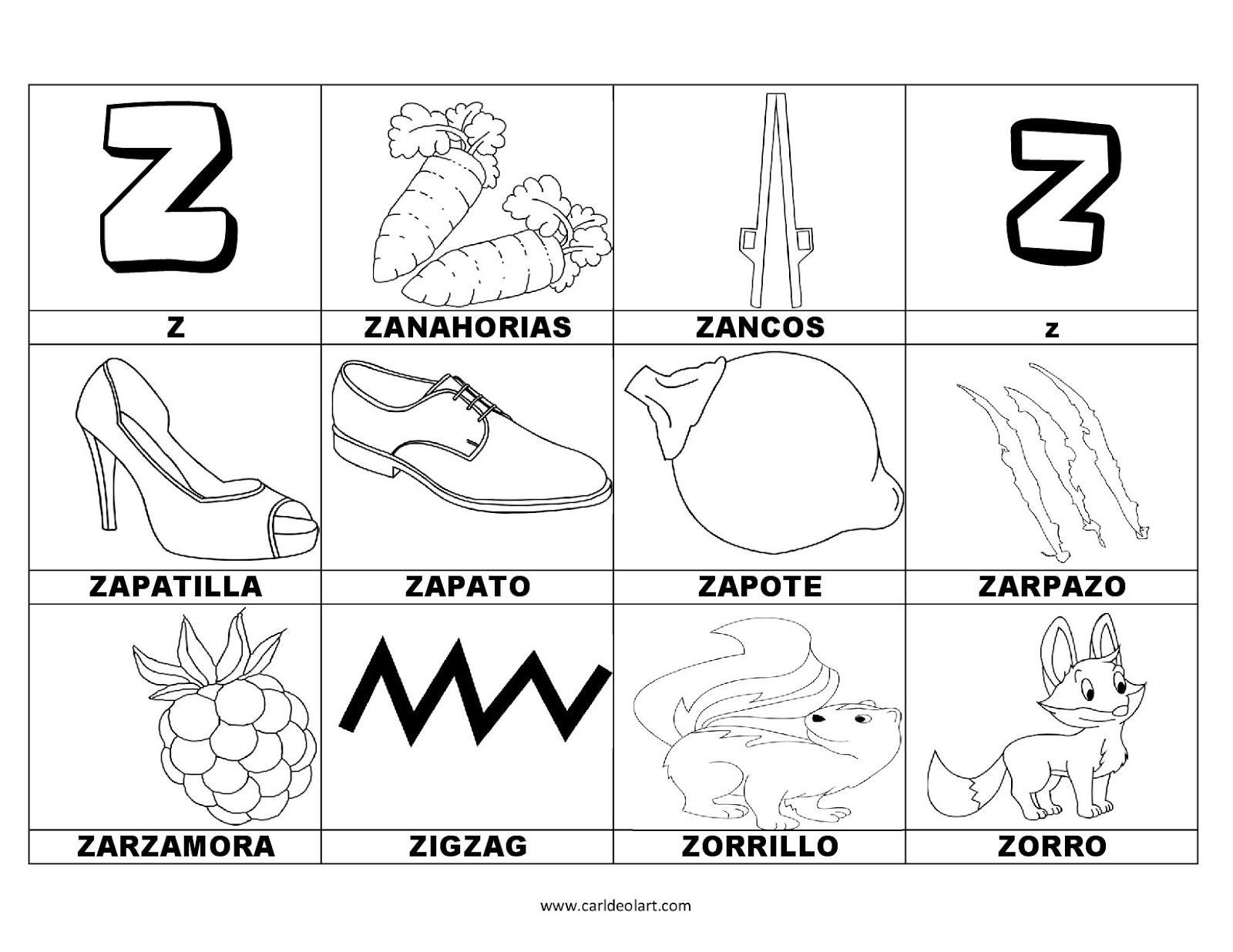 Dibujos Para Colorear Palabras Con Z