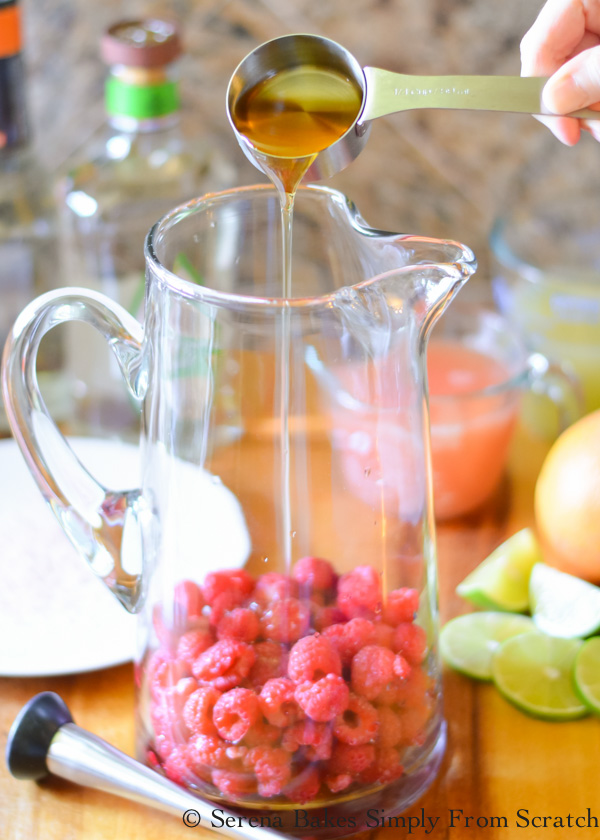 Raspberry Margaritas macerate raspberries with agave to make margaritas from Serena Bakes Simply From Scratch.