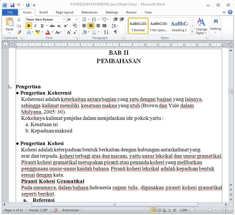 Makalah Kohesi Dan Koherensi Format Doc Word