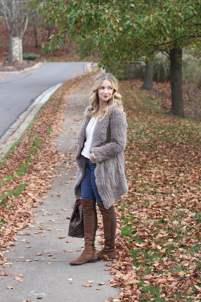 june fur coat, jcrew jeans, stuart weitzman boots, louis vuitton bag