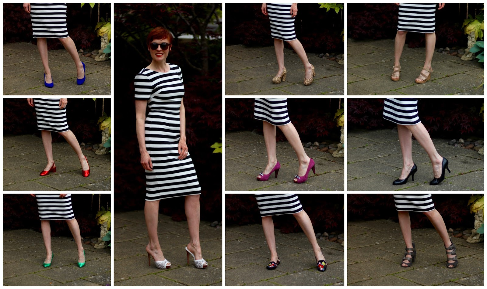 What Colour Shoes to Wear with a Black & White Dress, over 40?