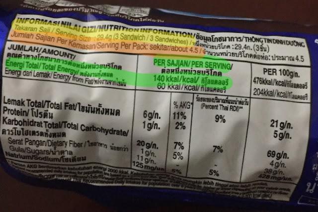 Contoh Label Informasi Nilai Gizi Pada Kemasan Makanan