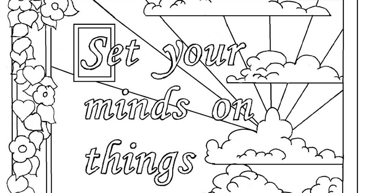 Coloring Pages for Kids by Mr. Adron: Colossians 3:2 Print