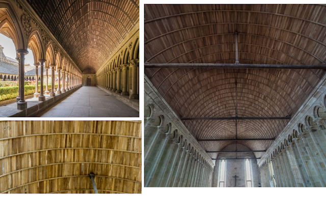 Claustro y refectorio de la abadía de Mont-<saint-Michel