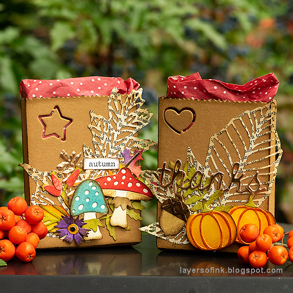 Layers of ink - Autumn Gift Bags Tutorial by Anna-Karin Evaldsson with Sizzix dies by Tim Holtz.