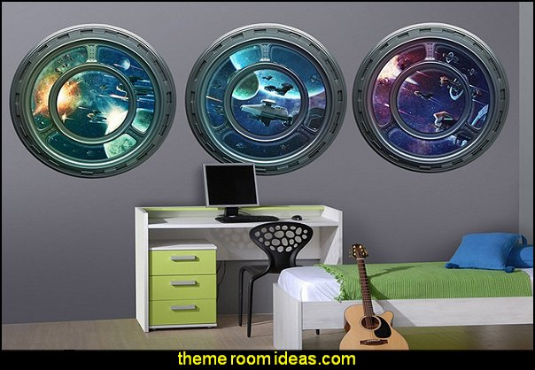 3 Space Ship Window Wall Decals  Star Wars Bedrooms - Star Wars Furniture - Star Wars wall murals - Star Wars wall decals - Star Wars bed - space ships theme beds - Star Wars Bedroom - Star Wars Decor - Sci Fi theme bedrooms - alien theme bedrooms - Stormtrooper Star Wars Theme Beds - Star Wars bedroom decor