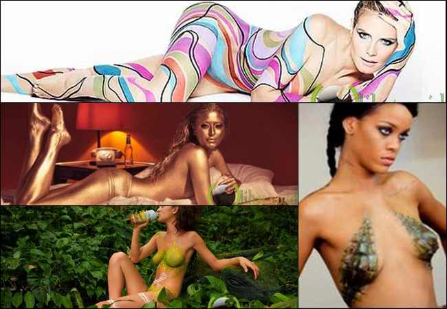 10 Artis Seksi dengan Body Painting yang paling Hot