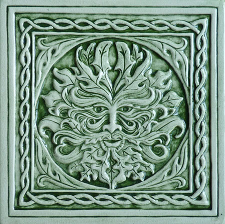 6x6 Handmade Relief Carved Green Man Ceramic Tile Plaque