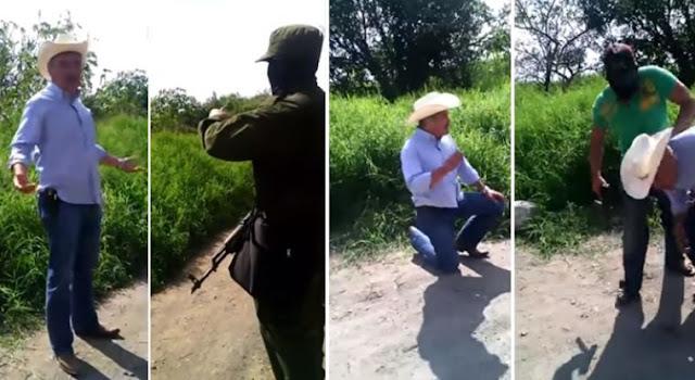 """VIDEO; """"Tírate al suelo porque te voy a chin..., tírate al suelo"""" sicarios de Los Rojos encañonan a alcalde y le piden 5 millones de parte de """"El Carrete"""""""