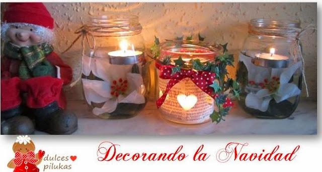 Dulces pilukas decorar con velas reciclar botes de cristal - Decorar jarrones con velas ...