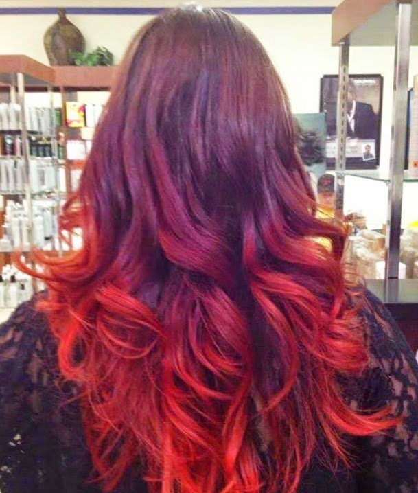 Beautiful red ombre highlights