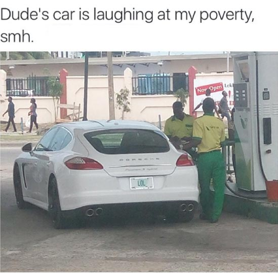 This car spotted at Lekki, Lagos State is literally laughing at poverty