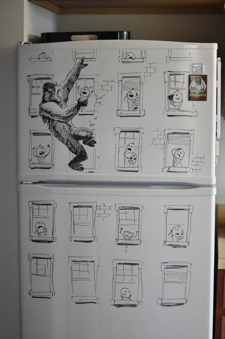 13-King-Kong-is-coming-Charlie-Layton-Freezer-Door-Drawings-and-Illustrations-www-designstack-co