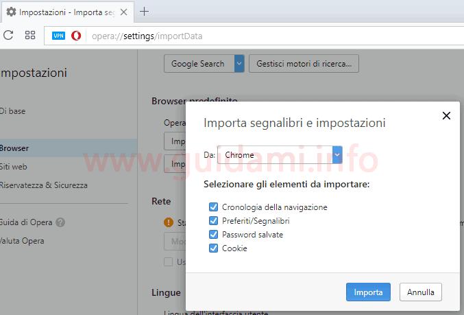 Opera importare preferiti e impostazioni da altro browser internet
