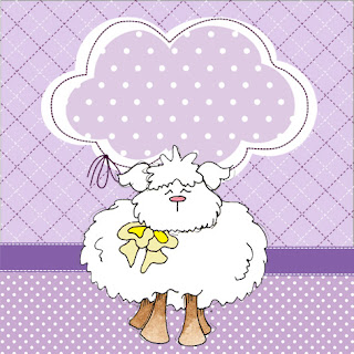 Sheeps in Purple, Free Printable Labels.