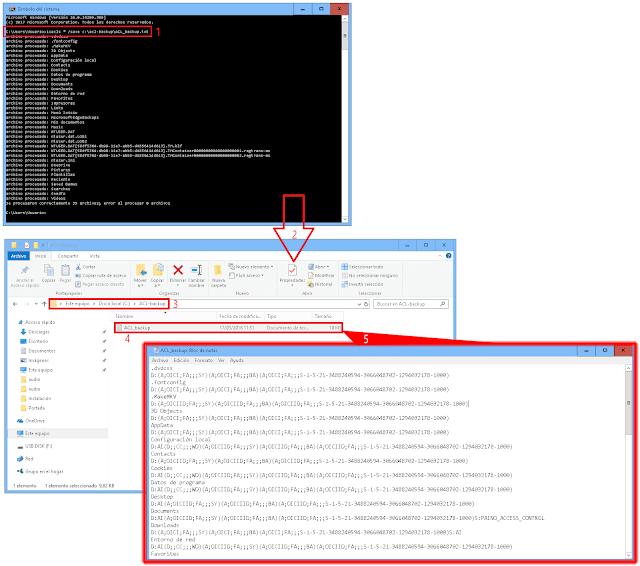 Podemos hacer una copia de seguridad de todas las Access Control Lists en un archivo de texto que llamaremos ACL_backup.txt.   icacls * /save c:\acl-backup\ACL_backup.txt