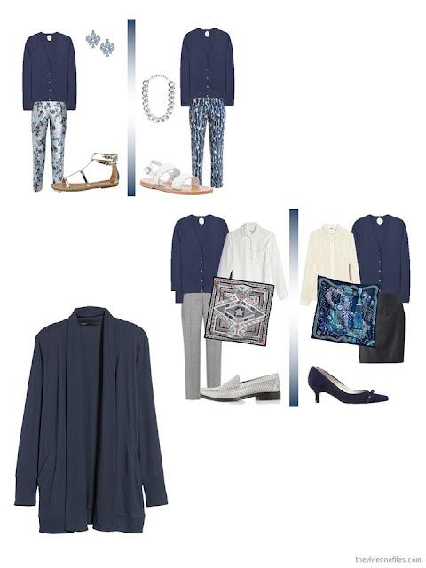 How to wear a petrol blue or slate blue cardigan