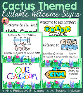 Succulent themed welome signs editable