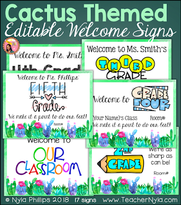 Cactus themed welome signs editable