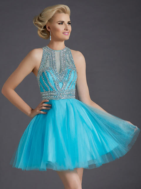 High Neck Zipper Back Babydoll Beaded Tulle Short Prom Dress