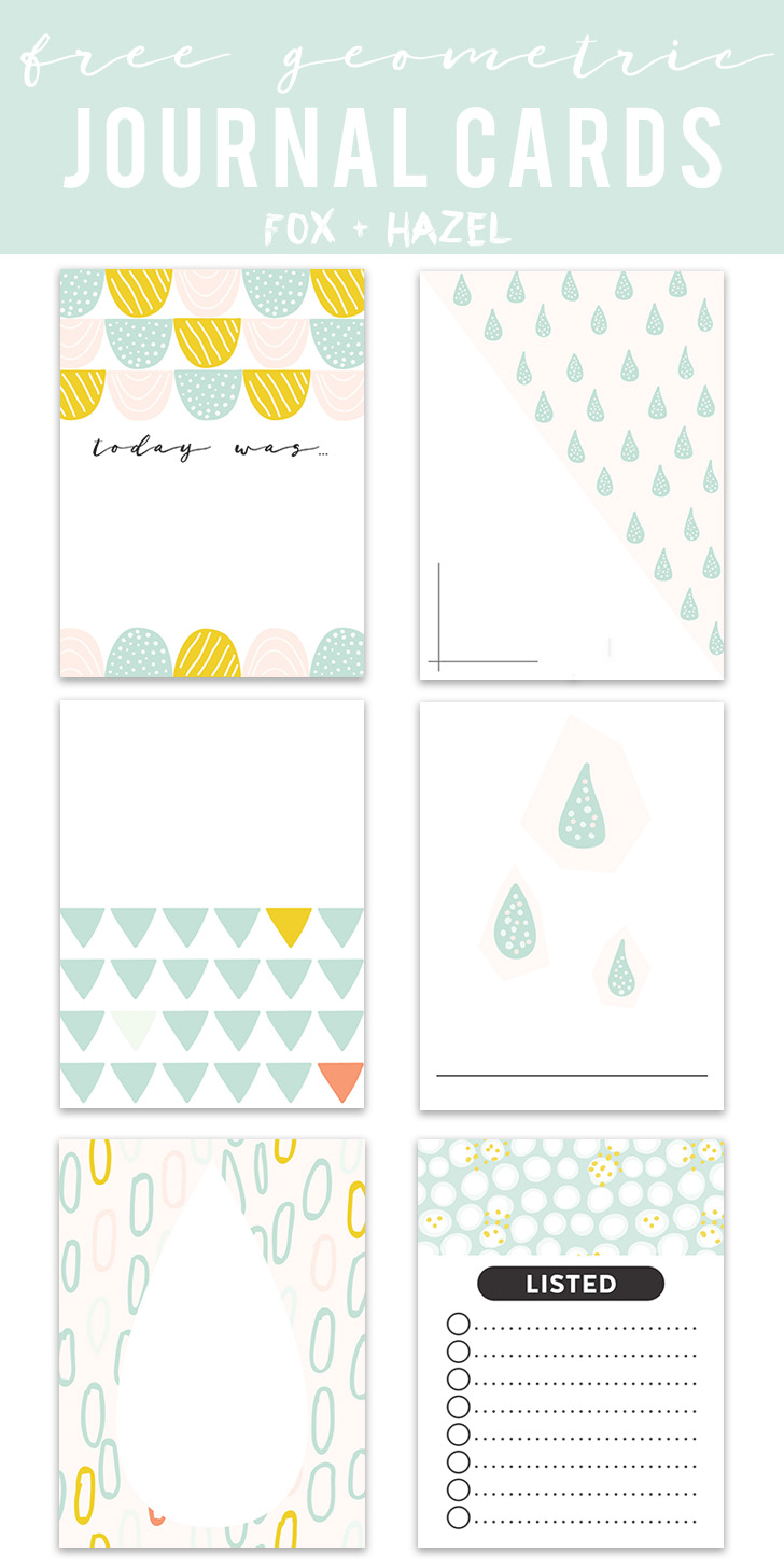 Free Geometric Project Life Journaling Cards Printable