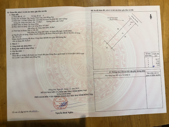Bán đất mặt tiền Thiện Tân Vĩnh Cửu 133.8mv