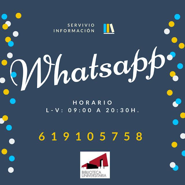 ¿Sabías que la Biblioteca tiene servicio de WhatsApp?